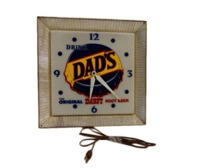 DRINK DAD'S DRAFT ROOT BEER ELECTRIC CLOCK