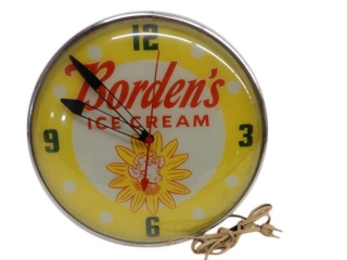 VINTAGE BORDENS ICE CREAM ELECTRIC CLOCK