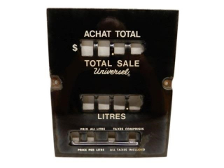 UNIVERSEL GAS PUMP SSP PRICE & LITRES PLATE
