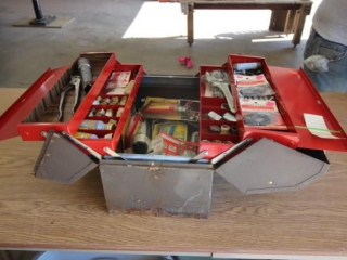 Tool box w/plumbing supplies