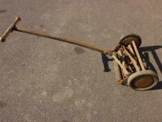Old time reel push mower