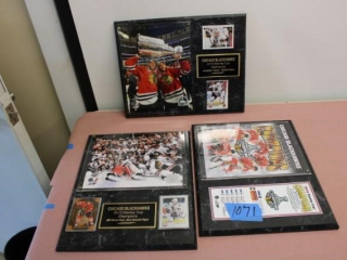 (3) Chicago Blackhawks Plaques