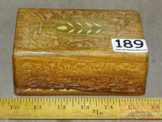 Heavily Carved Wooden Dresser Box W/ Inlay.