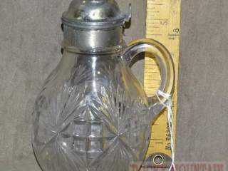 Beautiful Vintage Pressed Glass Syrup Dispenser.