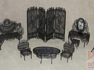 Black Wire Doll House Furniture Set.