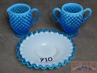 Vintage Blue Hobnail Cream & Sugar & Plate.