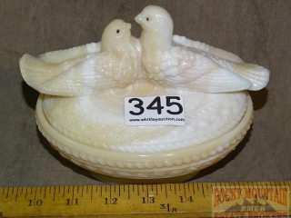 Vintage Custard Glass Bird on Nest.