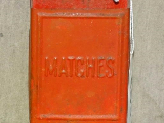 Cute Vintage Red Tin Match Safe.