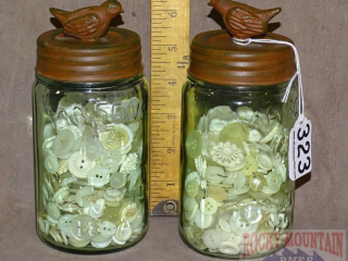 2 Mason Jars W/ Buttons & Bird Lids.