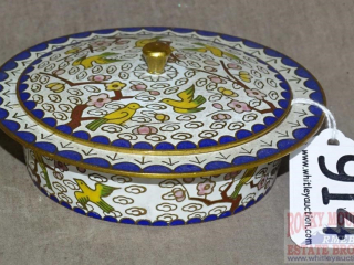 Vintage Cloisonne Covered Dish.
