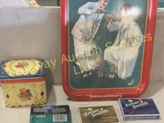 Assorted Tins. Includes a Coca-Cola Tray,