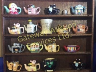 Display Cabinet with Mini Teapot Collection
