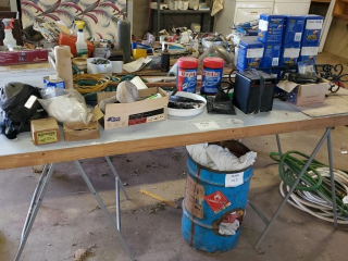 Water hoses, rags, door table, & misc