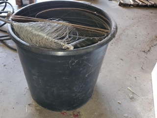 Bucket of Wire & sledgehammer