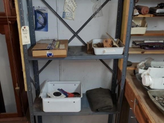 Four shelf steel storage cabinet & contents