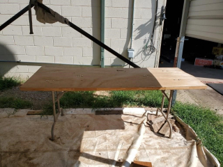 "78"" homemade work tables on saw horses"
