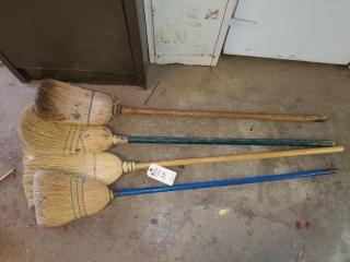 (4) Straw Brooms
