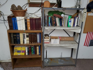 Bookshelf & metal shelf