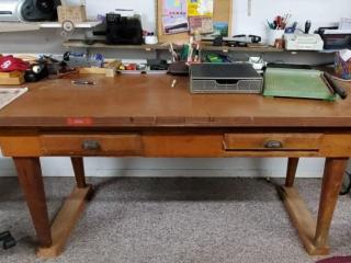 Oak vintage desk & content