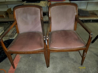 2 - Wood big seat chairs