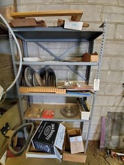Steel 5 shelf shelving unit & contents