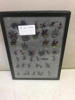 Framed display of various lead toy soldiers