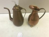 Copper Vase with handle, and Hammered Copper Teapot