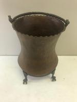 Hammered Copper Pot, with handle, and detached base. Base has ball and claw feet