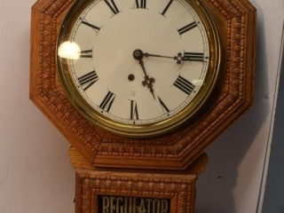 Regulator Wall clock with key and pendulum,