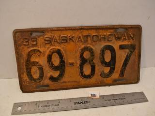 1939 Sask. Lic plate