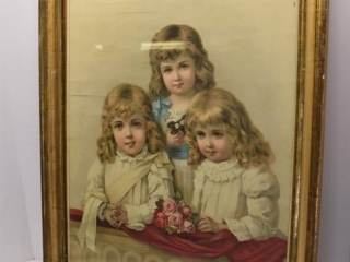 "Old Picture of 3 Girls 18"" x 23"""