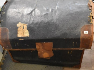 "Leather Hump Back Trunk 28"" x 20"" x 22"" high with"