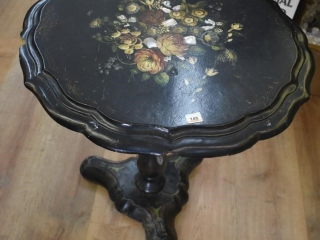 Wooden tilt top Table with shell inlay (Top has