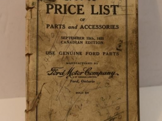 1925 Ford Price List of Parts and Accessories