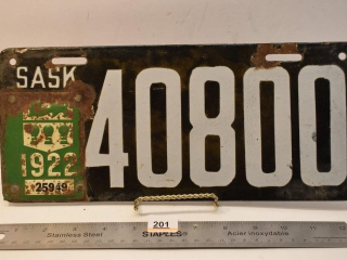 1922 Saskatchewan License Plate