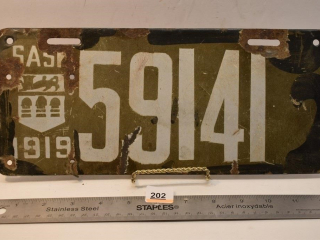 1919 Saskatchewan License Plate