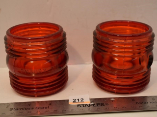 Vintage Embury No. 40 Red Glass Globe Lens