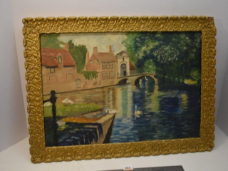 "Picture in ornate wooden Frame 20"" x 15"" (Damage"
