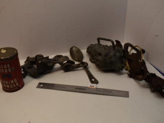 Jelly Mold, ice Skates, tin and harness hardware