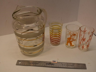 Water pitcher and 3 glasses