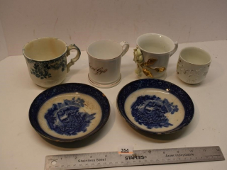 Four Misc. Cups and Two Plates