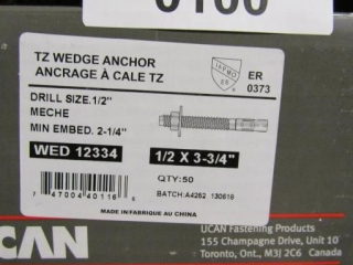 UCAN TZ Wedge Anchor, Drill Size 1/2""