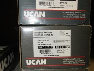 3- UCAN TZ Wedge Anchor Drill size 1/2""