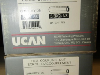 2- UCAN hex Coupling Nut Rod 58 5/8x2-1/8""