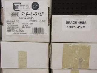 "5  boxes Brad F16 1-3/4"" galvanized approx. 2500"