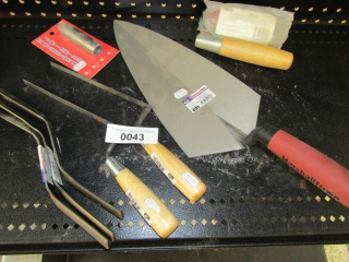 Masonry tools: Trowel, Brick Jointer, Tuck pointer