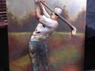 "Golfer; Metal Art; 31"" x 47"""