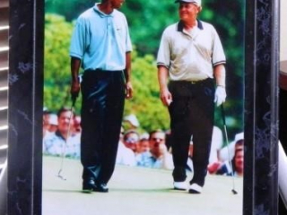 Tiger Woods & Jack Nicklaus; Photo under acrylic