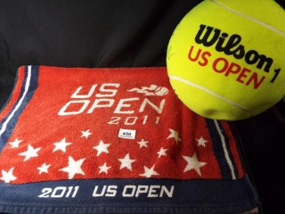 Tennis US Open Towel, Signed Ball