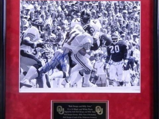 Bob Stoops & Billy Sims; 11 x 14 photo; Signed